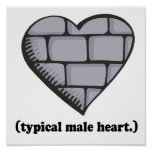 brick wall typical male heart poster