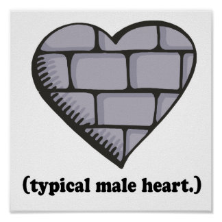brick wall typical male heart print