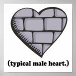 brick wall typical male heart print
