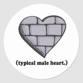 brick wall typical male heart classic round sticker