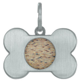 Brick wall with several colors pet ID tag