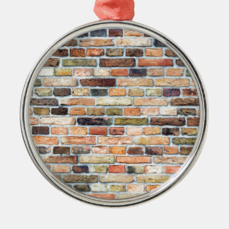 Brick wall with various colors metal ornament
