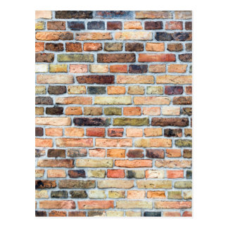 Brick wall with various colors postcard