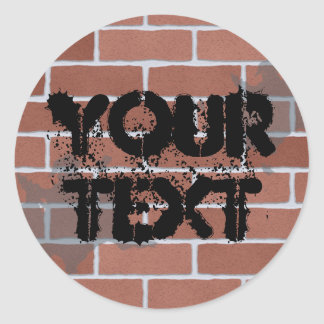 brick wall, YOUR TEXT Classic Round Sticker