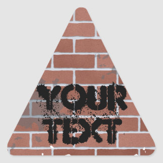 brick wall, YOUR TEXT Triangle Sticker