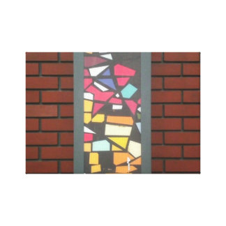 Brick with Stained Glass Canvas Print