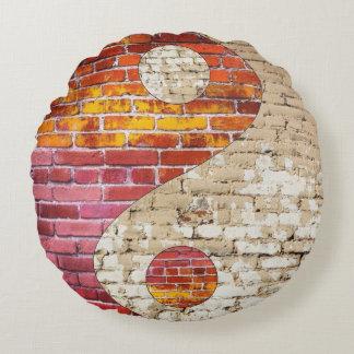 Brick Yin Yang Round Throw Pillow
