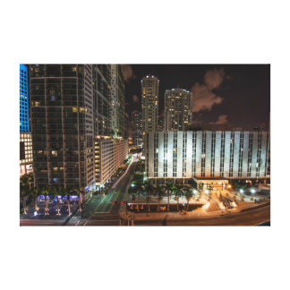 Brickell Ave Miami Florida After Dark in the City. Canvas Print