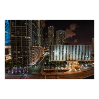 Brickell Ave Miami Florida After Dark in the City. Poster