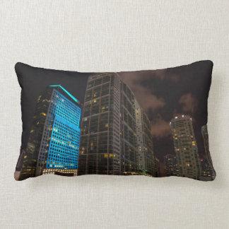 Brickell Ave Miami Florida Evening in the City. Lumbar Pillow