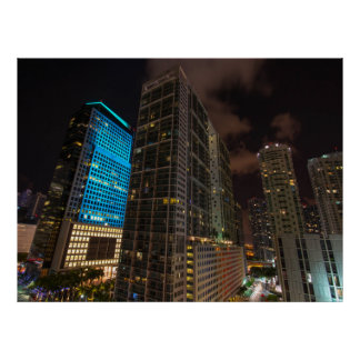 Brickell Ave Miami Florida Evening in the City Poster