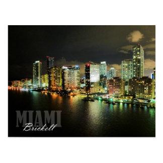 Brickell skyline at night in Miami, Florida Postcard