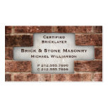 Bricklayer and Stone Masonry Brick Business Cards