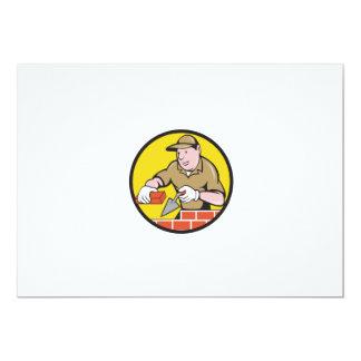 Bricklayer Bricks Trowel Circle Cartoon Card