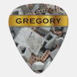 [ Thumbnail: Bricks & Blocks Demolition Rubble Debris & Name Guitar Pick ]