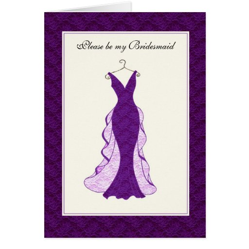 Bridal attendant invitation purple lace greeting card
