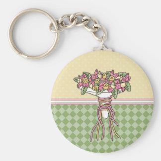 Bridal Bouquet 1 Basic Round Button Keychain