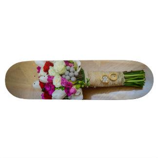 Bridal bouquet and weeding rings custom skateboard