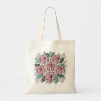 Bridal Bouquet of Pink Roses Applique Quilt Tote Bag