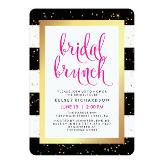 Bridal Brunch | Black White Gold and Pink Shower Card