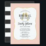 """Bridal Brunch Invitation   Blush Champagne Toast<br><div class=""""desc"""">Let&#39;s toast the bride! Wedding bridal shower brunch invitation design features gold colored toasting champagne / mimosa glass flutes with soft black text that can be fully personalized for your event. A decorative blush pink (can be customized) frame surrounds the invite and a pattern of wide horizontal soft black and...</div>"""
