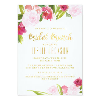 Bridal Brunch Shower Invitation Blush and Gold