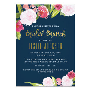 Bridal shower brunch invitations announcements zazzle bridal brunch shower invitation navy and gold filmwisefo