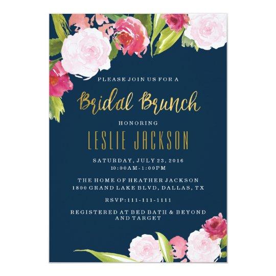 Bridal brunch shower invitation navy and gold zazzle bridal brunch shower invitation navy and gold filmwisefo