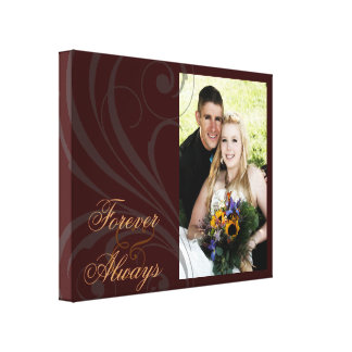Bridal Forever & Always Scroll Brown Photo Canvas Stretched Canvas Print
