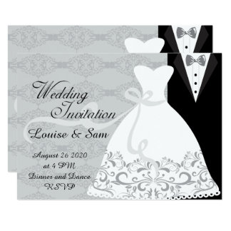 Bridal Gown and Groom Tux RSVP Card