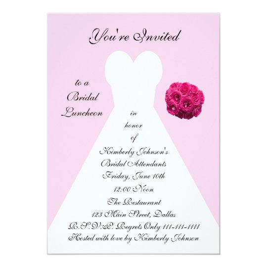 Bridal Gown Bridal Luncheon Invitation -- Pink