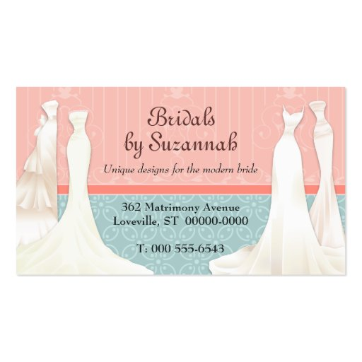 Bridal shop business card templates bizcardstudio bridal gown business card reheart Images
