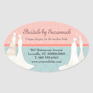 Bridal Gown Business Promotional Stickers zazzle_sticker