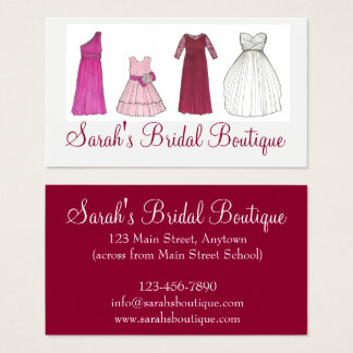 Bridal Gown Dress Shop Clothing Wedding Boutique Business Card