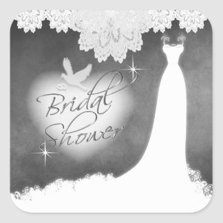 Bridal Gown on Chalkboard with Lace & White Dove Square Sticker