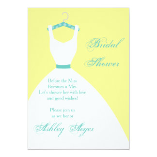 Bridal Gown on Hanger- Yellow, Pink & Blue 5x7 Paper Invitation Card