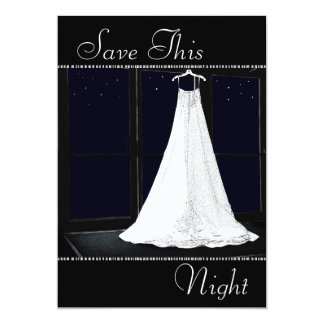 Bridal Gown Starry Night Winter Save the Date Card