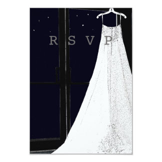 Bridal Gown Starry Night Winter Wedding RSVP Cards