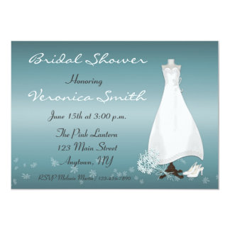 Bridal Gown Turquoise Shower Invitation
