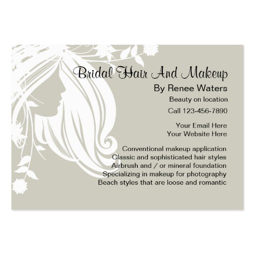Bridal hair and makeup business cards zazzle for Hair and makeup business cards