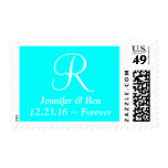 Bridal Heavier Monograms Aqua Postage Stamp