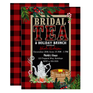 Bridal Holiday Tea & Brunch Elegant Rustic Plaid Card