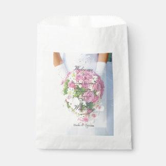 Bridal lace flower bouquet editable wedding favor bag