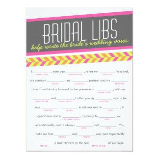 Bridal Libs Bachelorette Party Game Card (neon)