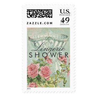 Bridal Lingerie Shower Corset Vintage Pink Roses Postage