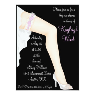 """Bridal Lingerie Shower Personalized 5.5"""" X 7.5"""" Invitation Card"""