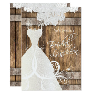Bridal Luncheon in Rustic Wood and Lace Card