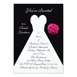 "Bridal Luncheon Invitation -- Bridal Gown on Black 5"" X 7"" Invitation Card"