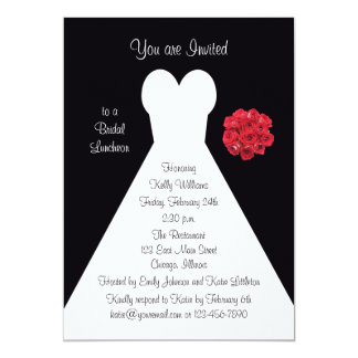 Bridal Luncheon Invitation - Bridal Gown Red Roses Cards