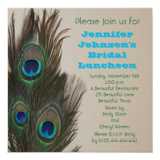 """Bridal Luncheon Invitation -- Peacock Feathers 5.25"""" Square Invitation Card"""